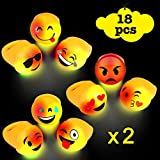 Acooe light up emoji rings bulk, LED light up toys for party favor, Small Cute light up rings Emoji flashing Rings party favors for kids -18pack with 9 faces