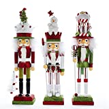 Kurt Adler 18'' Holly Wood Red & Green Nutcracker 3/asstd: Snowman, Gift Box & Tree Hat