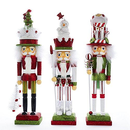 Kurt Adler 18'' Holly Wood Red & Green Nutcracker 3/asstd: Snowman, Gift Box & Tree Hat
