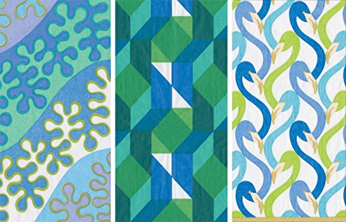 Caspari Guest Towels Collection (Bal Harbour Blue, Color Theory Green, Flamingo Flock Blue) (1 Bal Harbour)