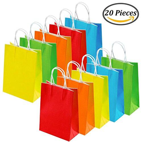 Keriber 20Pcs Paper Party sac cadeau Sac Kraft papier sac avec poignée pour anniversaire, Tea Party, mariage, célébrations, couleurs colorées