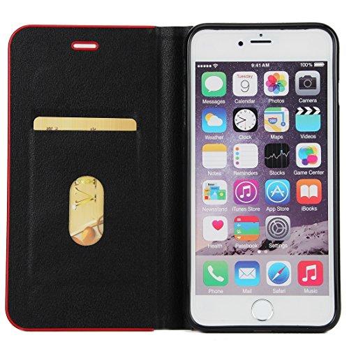Wkae Cowhide Texture PC Stoßfänger Starke magnetische Adsorption Horizontale Flip Leder Tasche mit Card Slots & Halter für iPhone 6 Plus & 6s Plus ( Size : Ip6p7570b )