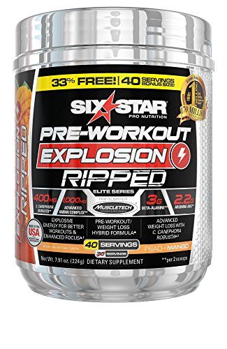 Six Star Explosion Ripped Pre Workout, Powerful Pre Workout Powder with Extreme Energy, Focus and Intensity, Peach Mango, 40 Servings by Six Star