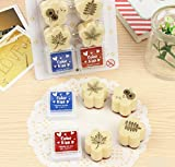 EVINIS 4 PiecesPlastic DIY Leaves Story Stamp with 2 Pieces Craft Ink Pad for Scrapbooking