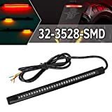 """Partsam Universal LED Strip for Motorcycle License Plate Tail Brake Stop Turn Signal Light Strip 32LED 8"""" Flexible Third Brake Light for Motorbikes Harley Davidson ATV Scooters"""
