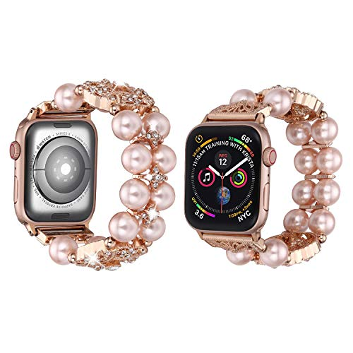 Ritastar Jewelry Bling Bracelet Compatible for Apple Watch Bands 38mm 40mm Womens Girls Adjustable Handmade Elastic Stretch Wristband Artificial Pearl Design for iWatch Series 4/3/2/1,Roe Gold