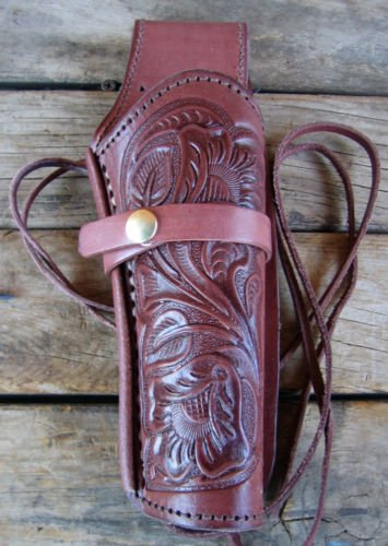 NEW! Brown Leather Single Western Tooled Cowboy Holster for 22 cal, 38/357 cal or 44/45 cal Gun Pistol By GUNS4US***