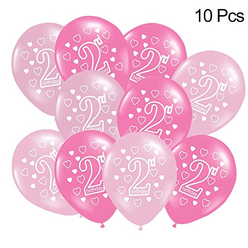 iBelly 10 PCS Decoration Balloon Baby 2 Years Happy Birthday Decoration Balloon Birthday Colorful Party Decorations for Wedding Anniversary Shooting Props