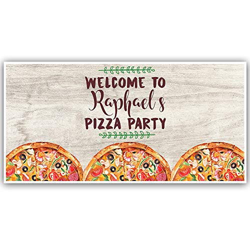 (Traditional Pizza Party Personalized Birthday Banner Party)