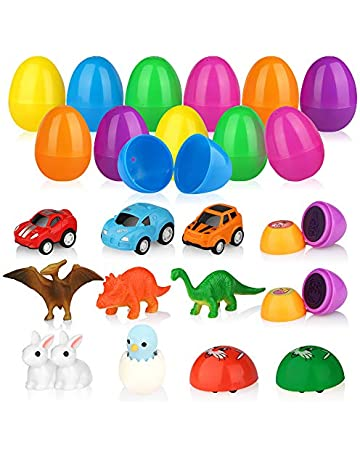Baztoy Easter Eggs Plastic Bulk Toy Gifts Party Favor Filler With Surprise Mini Toys Contain