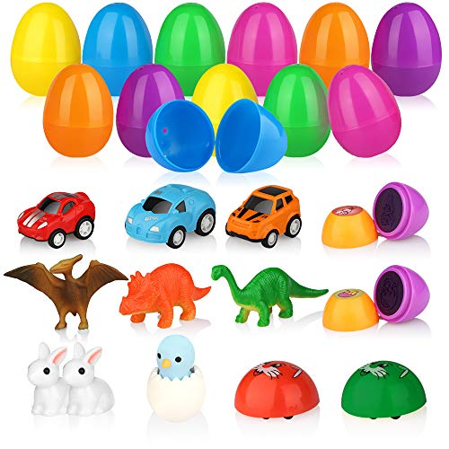 Baztoy Easter Eggs Plastic Bulk Easter Toy Gifts Party Favor Filler with Surprise Mini Toys contain Dinosaurs Vehicles Rabbits Stampers and Nestling, Decoration Resurrection Egg Toy for Kids Toddlers Boys and Girls (12 Pack)]()