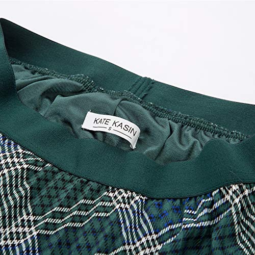 Kate Kasin Women's High Waist Pleated A-Line Swing Skirt KK659