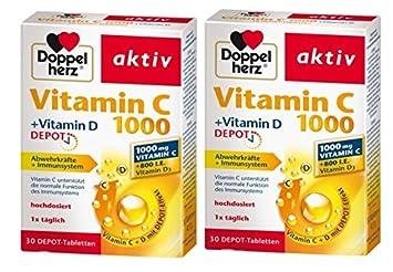 Vitamina D doble del corazón C1000 + Vitamina D, depósito, 2 x 30 tabletas: Amazon.es: Salud y cuidado personal