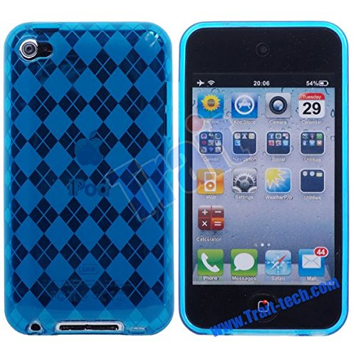 Flexible TPU Soft Gel Skin Case for Apple iPod Touch 4th Generation / 4th Gen - Checkers Argyle Blue ()