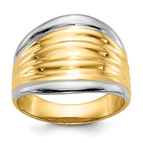 Size 7 - Solid 14k Yellow and White Gold Two Tone Fancy Dome Ring (15mm)