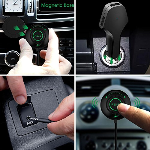 Bluetooth Car Kit Bluetooth Adapter REIIE Bluetooth Stereo Receiver for car, CallingΜsic Streaming with Built-in Mic Echo and Noise Reduction Siri/Voice Activation for Car with 3.5mm Aux by REIIE (Image #3)