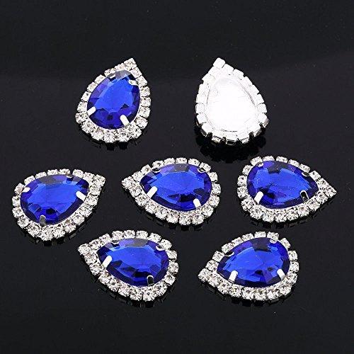 Crystal 25 x 18mm Teardrop Topper, Diamante Rhinestone Wedding Buckle Button (Grey, 10) Crystals & Gems UK