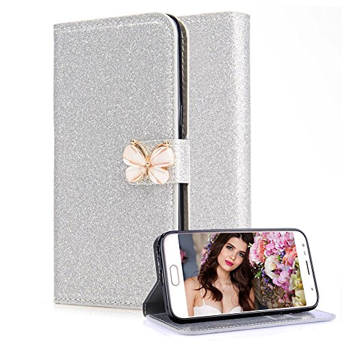 Case for Samsung Galaxy J3 J310 2015 / 2016,Aearl [Screen Protector] Bling Glitter [Magnetic Rhinestone Butterfly Bowknot ] PU Leather Book Wallet TPU Cover for Samsung Galaxy J3 2016 2015 - Silver