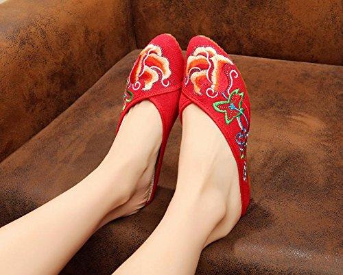 Chnuo Mujeres Suela Suave Zapatos Chinos PlanosZapatos bordados finos lenguado del tendón estilo étnico flip flop femenino manera cómodo sandalias red