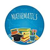 Polyester Round Tablecloth,Mathematics Classroom Decor,Education Science Concept School College Supplies Set Books Cap Decorative,Multicolor,Dining Room Kitchen Picnic Table Cloth Cover,for Outdoor I