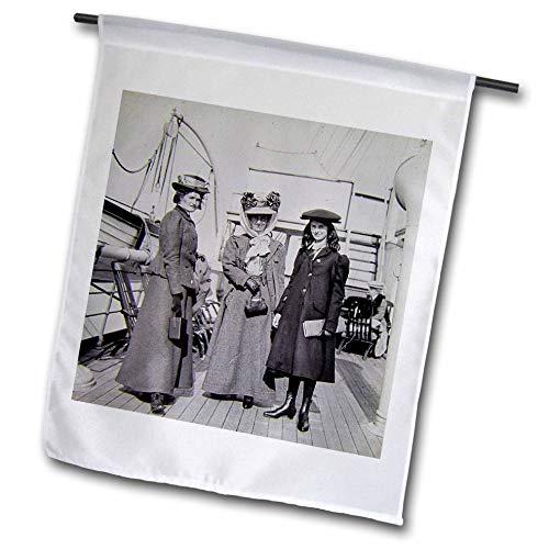 3dRose Scenes from The Past - Magic Lantern - 1907 Edwardian Ladies Aboard Ocean Passenger Steamer Vintage - 12 x 18 inch Garden Flag (fl_300290_1)