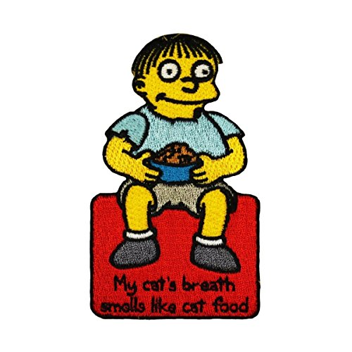 (The Simpsons Ralph Patch My Cat's Breath Smells Like Cat Food Embroidered IronOn)
