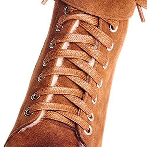 Kaloosh Women's Comfortable Nubuck Leather Round Toe Flat Lace Up Hook&Loop Boots A Khaki qIGGgmW9L
