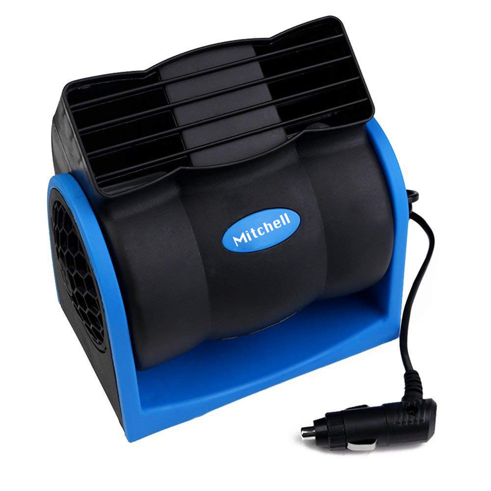 BORDAN 12V DC Electric Car Fan for Rear Seat Passenger 360 Degree Rotatable Dual Head Car Auto Powerful Cooling Air Fan for Sedan SUV Auto Vehicles