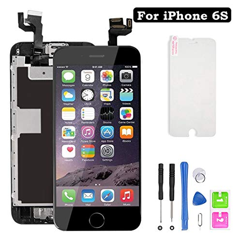 Screen Replacement for iPhone 6S, LCD Display with 3D Touch Screen Digitizer Full Assembly with Home Button+ Front Camera + Earpiece + Repair Tools Kit (Black,4.7inch)