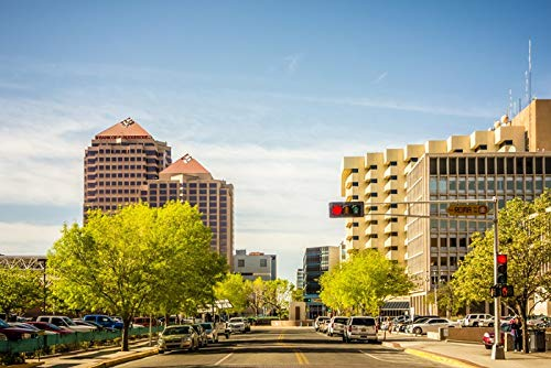 Albuquerque, New Mexico Downtown Photograph A-89914 (24x36 SIGNED Print Master Giclee Print w/Certificate of Authenticity - Wall Decor Travel Poster)