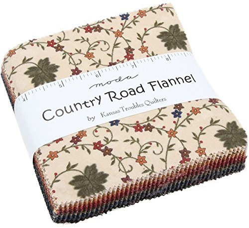 (Country Road Flannels Charm Pack by Kansas Troubles Quilters; 42-5 inch Precut Fabric Quilt Squares)