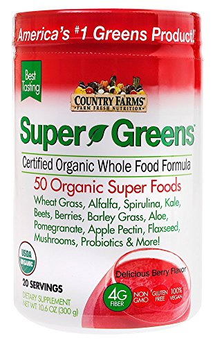 Country Farms Super Greens Berry flavor, 50 Organic Super Foods, USDA Organic Drink Mix, 20 servings