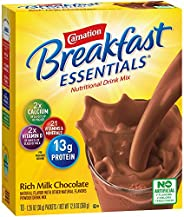 Carnation Breakfast Essentials Powder Drink Mix, Rich Milk Chocolate, 10 Count Box of 1.26 Ounce Packets (Pack