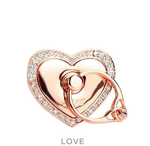 Love Brackets (Universal Phone Ring Bracket holder ,UCLL Love Heart Diamond Shape Finger Grip Stand Holder Ring Car Mount Phone Ring Grip Smartphone Ring stent Tablet Rose Gold)