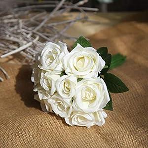 Princegame 9Pcs/Set Artificial Rose Silk Flower Wedding Bouquet Romantic Contrast Color Wedding Party Home Decoration 6 Big Head 3 Bud 4