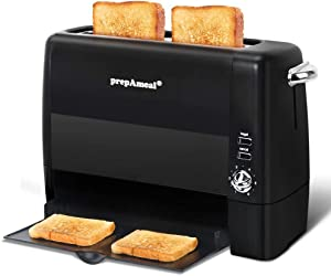 prepAmeal Long Slot Toaster 2 Slice Toaster with 6 Shade Settings, Bagel/Cancel, Extra Wide Slots, Removable Crumb Tray, for Bagels, Waffles, Breads, Puff Pastry, Snacks (2-Slice, Black)