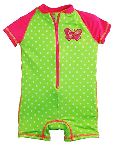 Wippette Baby Girls Polka Dot with Butterfly 1 Piece Swim, Gecko, 18 Months