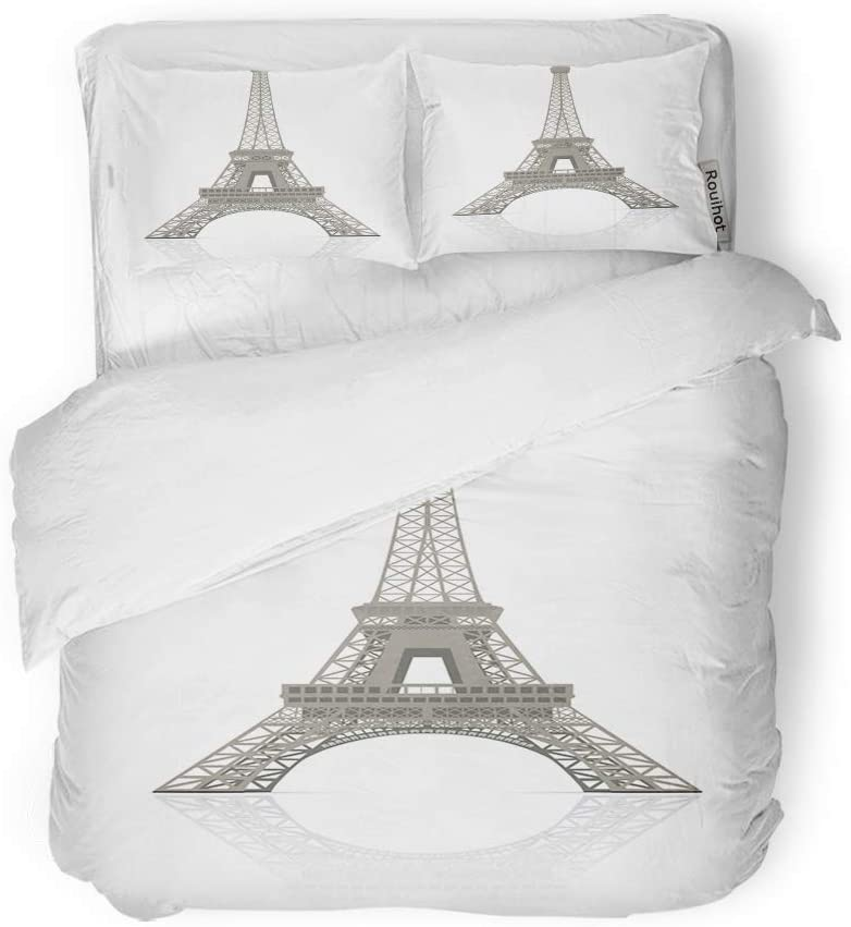 rouihot Duvet Cover Set Twin Size Tour Eiffel Tower in Paris It is and Change 3 Piece Microfiber Fabric Decor Bedding Sets for Bedroom