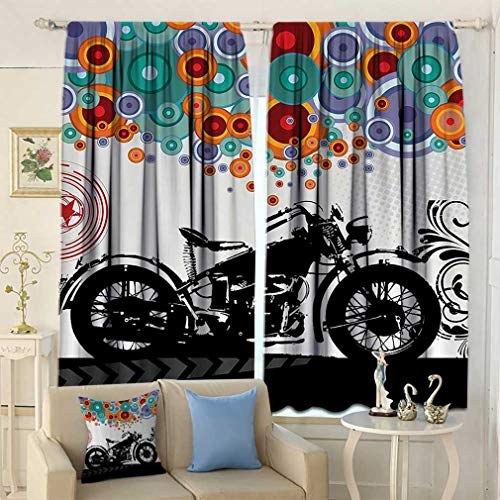 Manly Decor Blackout Curtains, Motorcycle and Abstract Circle Shapes Ornament Urban Modern Life Clubs Party Window Covering for Bedroom 2 Panels Set, 72'' W x 84'' L