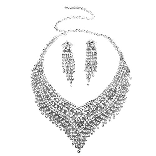 1 X Wedding Jewelry Sets Silver Cz Crystal Rhinestone Tassels Statement Necklace and Earrings Jewelry Sets for (Set Of Jewelry)