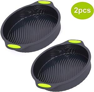 Silicone Round Cake Pan, Set of 2 Bread Pans for Baking, Reusable Large Baking Pans Set, Silicone Bakeware Cake Molds Dishwasher Safe-9 inch Inside