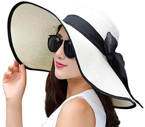 JOYEBUY Women Big Bowknot Straw Hat Floppy Foldable Roll up UV Protection Beach Cap Sun Hat (Style C-Ivory White)