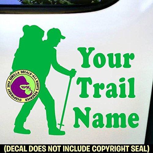 HIKER - CUSTOM TRAIL NAME - Hiking Vinyl Decal Sticker F