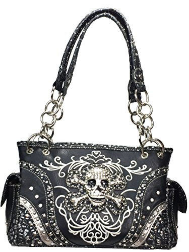 Zzfab Embroidered Concealed Carry Rhinestone Studded Skull Purse Black (Skull Purse)
