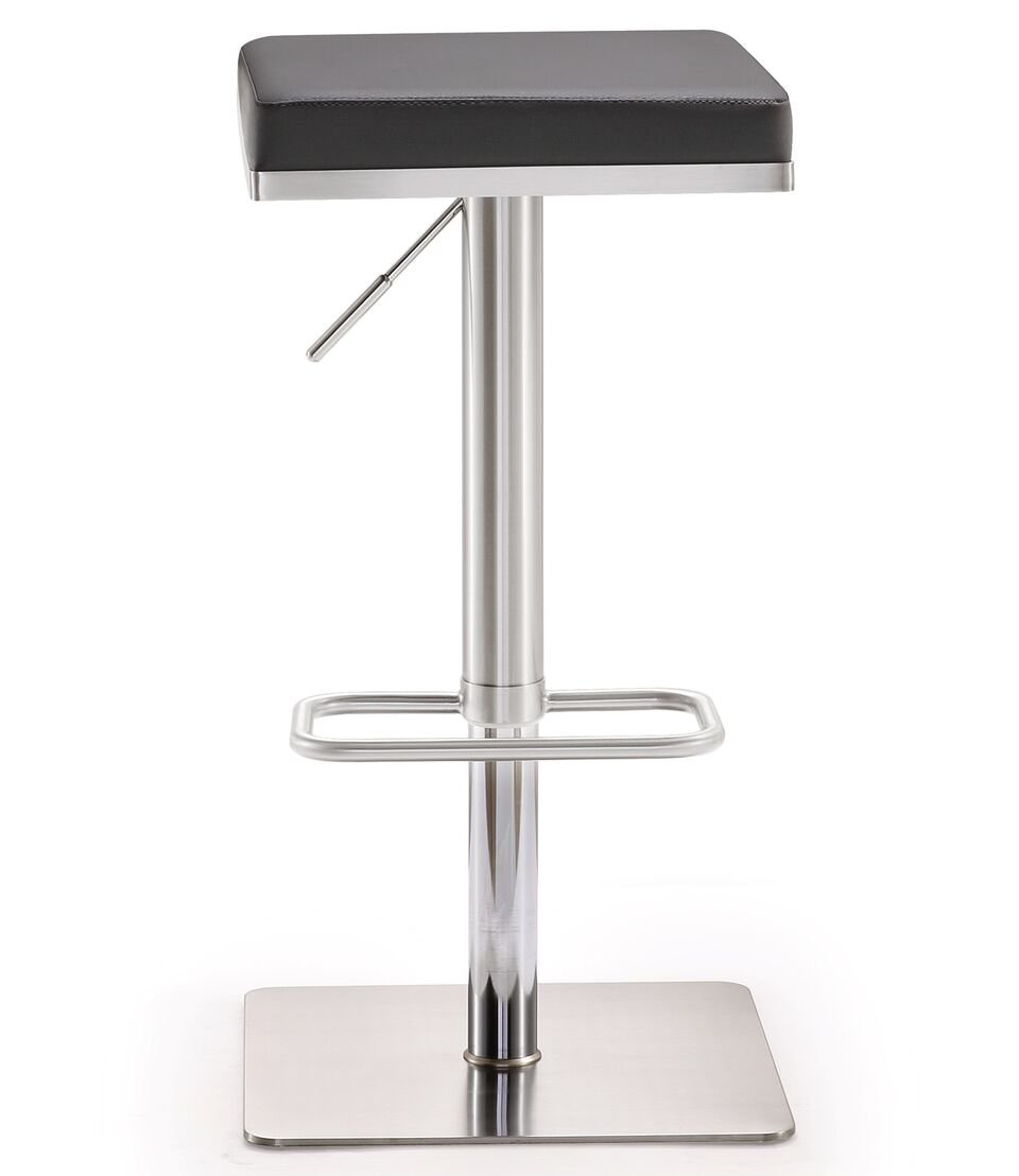 Tov Furniture The Bari Collection Adjustable Height Backless Swivel Stainless Steel Metal Industrial Bar Stool, Gray