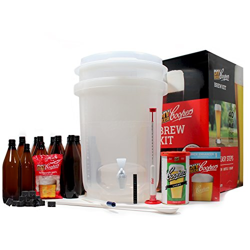 Coopers DIY Beer Home Brewing 6 Gallon All Inclusive Craft Beer Making Kit with Patented Brewing Fermenter, Beer Hydrometer, Brewing Ingredients, Bottles and Brewing Accessories (Fermenter Beer)