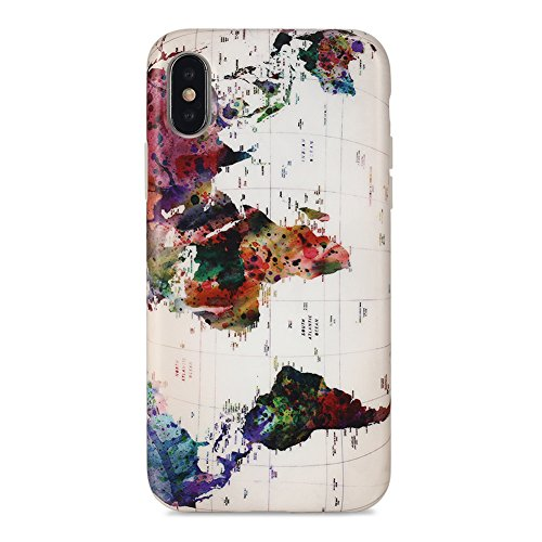 iPhone X case Marble, Sankton Slim-Fit Anti-Scratch Shock-Proof Anti-Finger IMD Soft TPU Cover with Design Pattern for iPhone X 2017 (Map) from Sankton