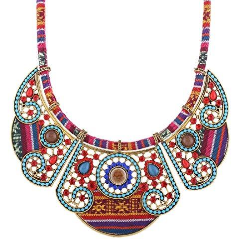 QIYUN.Z Woman Ladies Vintage Bohemian Ethnic Necklace Collar Statement Jewelry