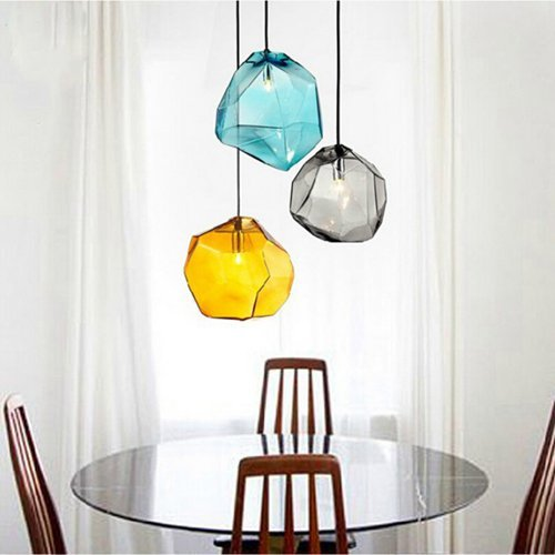 (LightInTheBox E27 220V 18x18CM Creative Ice Crystal Personality Glass Diamond Pendant Chromatic Droplight Lamp Led Light, Color=Blue 1 Bulb)