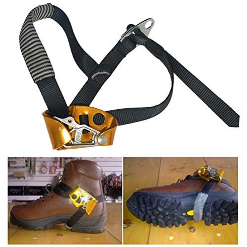 Foot Ascender Riser Stainless Steel Mountaineering Equipment Climbing Rope Device with Anti-Slip Barb for Fire Rescue Fire Rescue Engineering Protection. - Right